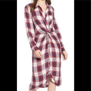Nordstrom Caslon Plaid Twist Front Dress or Top